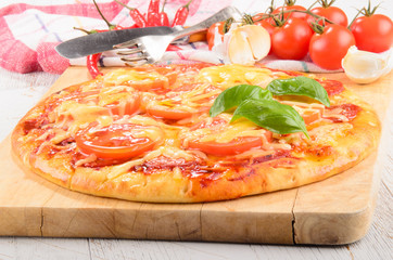 salami pizza with tomato and cheese