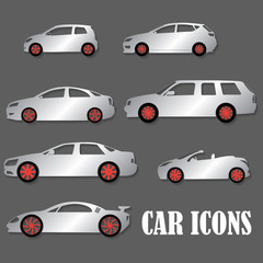 Silver car icons and red wheel