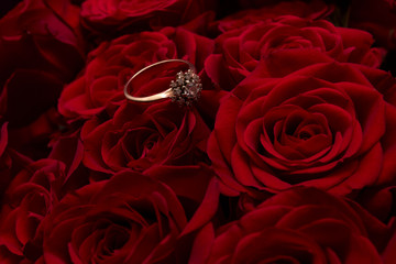 Ring on roses background