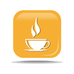 Flat Icon of cup of hot tea. Isolated on yellow background. Modern vector illustration for web and mobile.