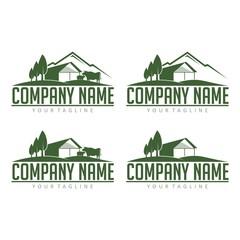 Farm Logo - Cattle Farm With View Mountain Design Logo Vector