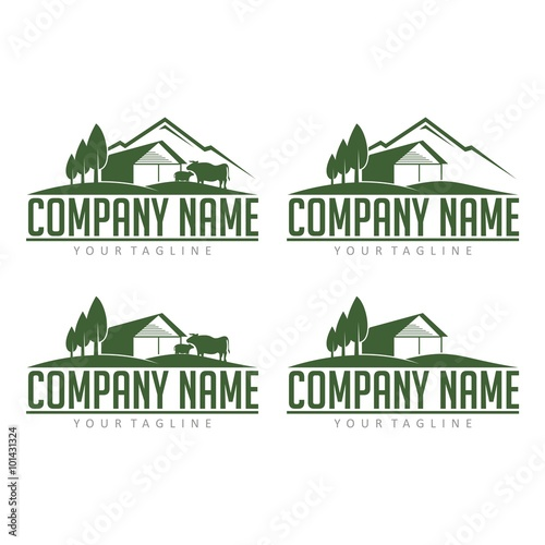 farm logo cattle farm with view mountain design logo vector stock