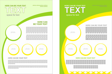 Set of vector brochure with the spring theme, with a predominance of green and light green colors. Spring, summer theme