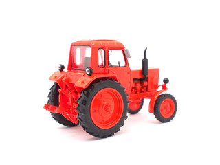 toy tractor on a white background