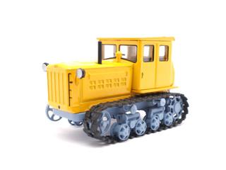 toy bulldozer on white background