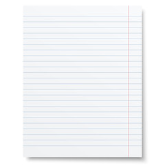 Notebook lined paper sheet isolated