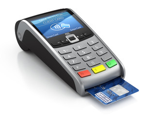 Fototapeta POS Terminal with credit card isolated on a white background obraz