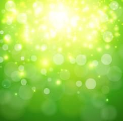 Green sunny background, glittering defocused bokeh,