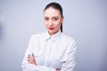 woman in a white shirt