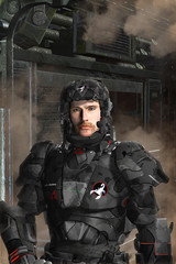 Futuristic soldier black op 3D render science fiction illustration