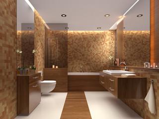 Edles luxuriöses Badezimmer mit Duschwanne