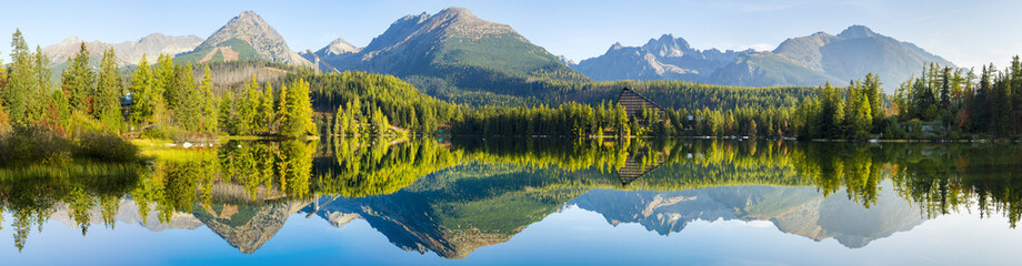 High resolution panorama of the lake in Strbske Pleso,High Tatras,Slovakia