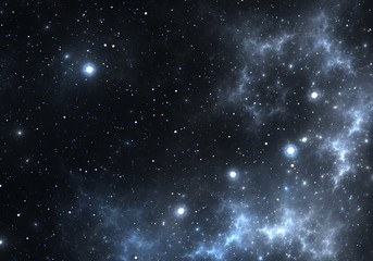 Space background with blue nebula and stars