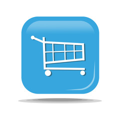 Flat Icon of Shopping supermarket cart. Isolated on blue background. Modern vector illustration for web and mobile.