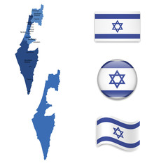 High Detailed Map of Israel With Flag Collection
