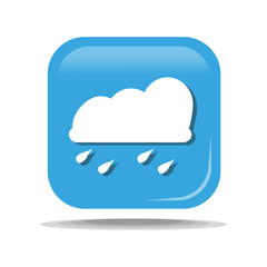 Flat Icon of rain cloud. Isolated on blue background. Modern vector illustration for web and mobile.