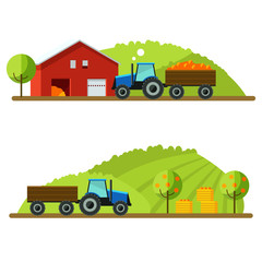 Harvest on the farm. Tractor rides to the picking.Fruits are in boxes. Set flat design vector illustration concept.Farm, vector background. Agricultural machines.Rustic landscapes.Tractor in a field.