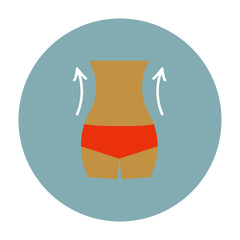 Weight loss icon. Slim lady with measuring tape.