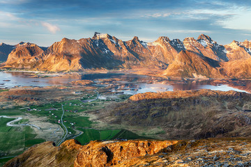 Wall Mural - Norway Landscape panorama with ocean and mountain - Lofoten