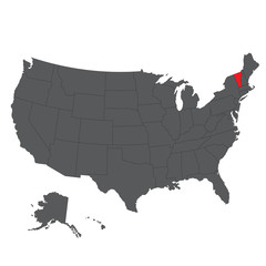Vermont red map on gray USA map vector