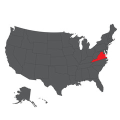 Virginia red map on gray USA map vector