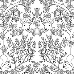 Hand drawn seamless pattern with deer and squirrel, black and white