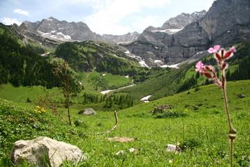Die Eng Alm - mit dem Almdorf am Ahornboden im Karwendel Gebirge, Bayern, Deutschland