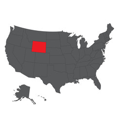 Wyoming red map on gray USA map vector