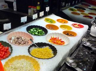 Salad bar with closeup in Taiwan