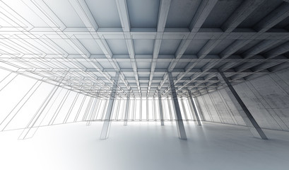 Concrete room, 3 d illustration, wire-frame lines