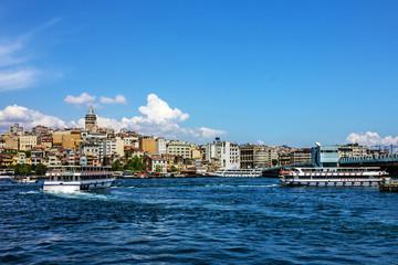 Panoramic view on Istanbul, Turkey. Galata tower and bridge