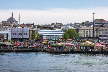 Istanbul sea front view near Galata bridge, Bosporus, Turkey.