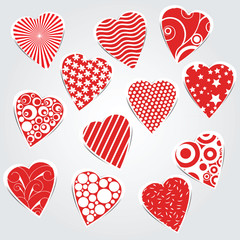 vector hearts set - stickers