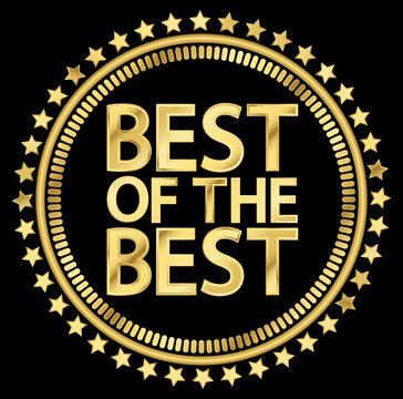 Best of the best golden label, vector illustration