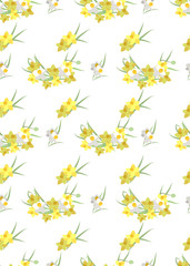 Floral narcissus retro vintage background