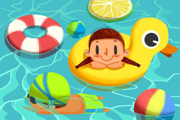 Creative Illustration and Innovative Art: Cute Girl and Boy in Swimming Pool. Realistic Fantastic Cartoon Style Artwork Scene, Wallpaper, Story Background, Card Design