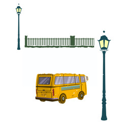 Clip Art Set: Bus, Lamp and Fencing Wall. Realistic Fantastic Cartoon Style Artwork Scene, Wallpaper, Story Background, Card Design