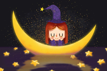 Creative Illustration and Innovative Art: The Magician Girl and Moon and Stars Fall from Sky. Realistic Fantastic Cartoon Style Artwork Scene, Wallpaper, Story Background, Card Design