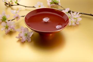 杯 桜 金色バック