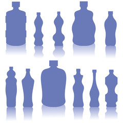 Set of Blue Bottles Silhouettes