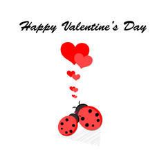 Happy Valentines' day card with ladybugs and hearts