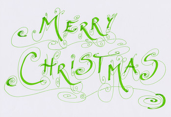 Merry Christmas calligraphic writing
