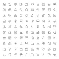 100 line icons. Business finances and shopping