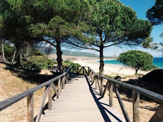 Holzsteg an der Playa de Bolonia, Costa de la Luz, Andalusien, Spanien