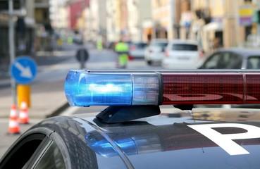 patrol car police patrol in the city