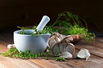 garlic, coriander and thyme