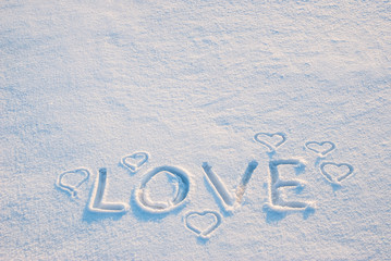 Word love on snow