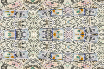 Banknotes of dollars as background