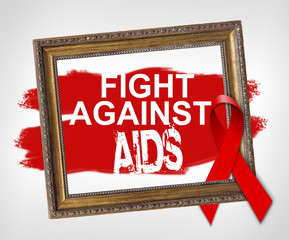 Fight against aids, World Aids Day concept with red ribbon