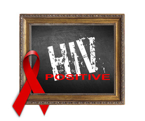 HIV positive, AIDS World Aids Day concept with red ribbon and ai